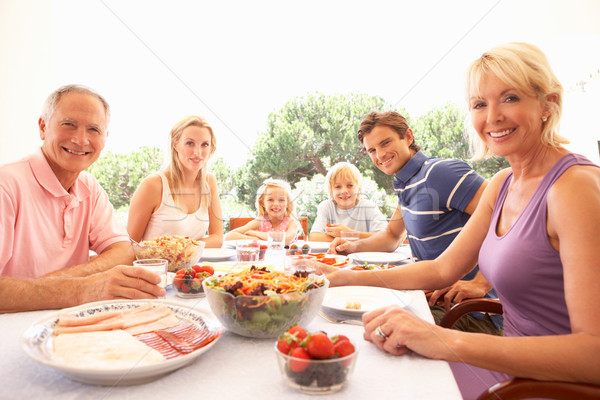 Uitgebreide familie ouders grootouders kinderen eten buitenshuis Stockfoto © monkey_business
