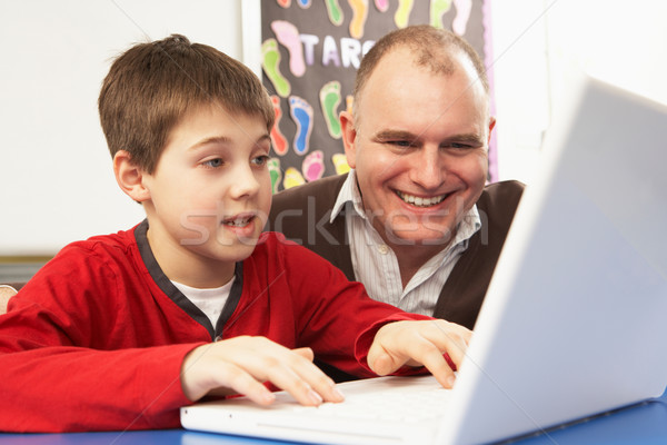 Stock photo: Schoolboy In IT Class Using Computer With Teacher