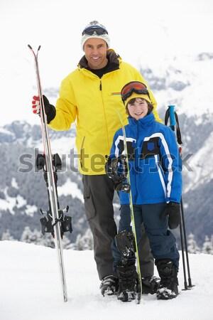 Menino esquiar férias feliz esportes jogar Foto stock © monkey_business
