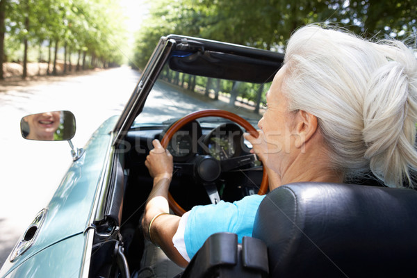 Senior woman in sports car Stock photo © monkey_business
