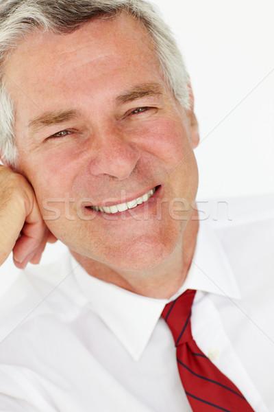 Foto stock: Senior · empresário · cabeça · ombros · trabalhar · trabalhando