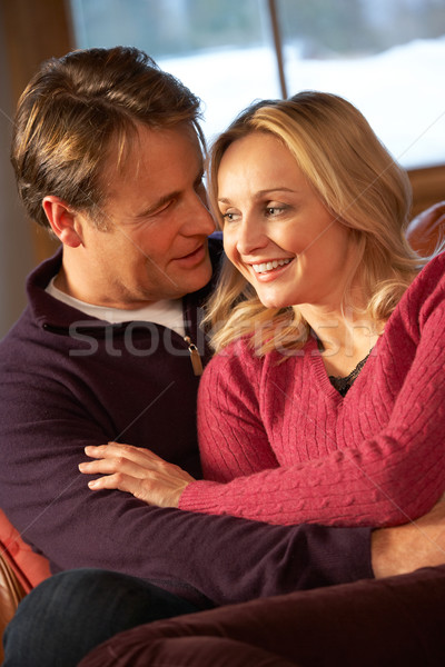 Middle Aged Couple Chatting On Sofa In Chalet With Winter View Stock photo © monkey_business