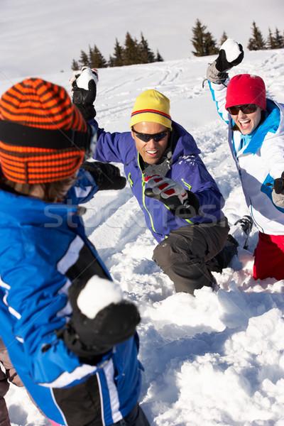 Famiglia palla di neve lotta sci vacanze montagna Foto d'archivio © monkey_business