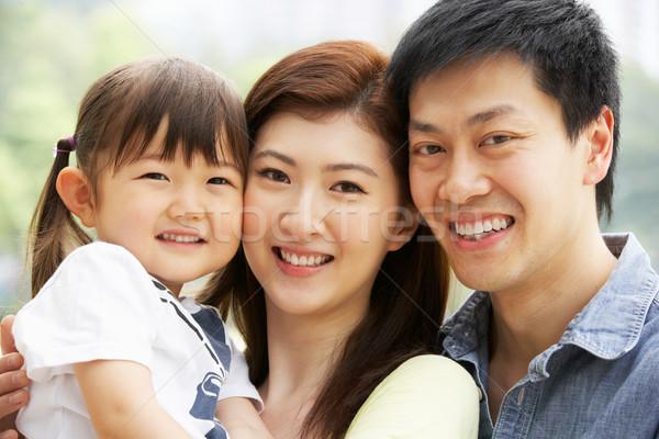 Foto stock: Retrato · chino · familia · hija · parque · mujer