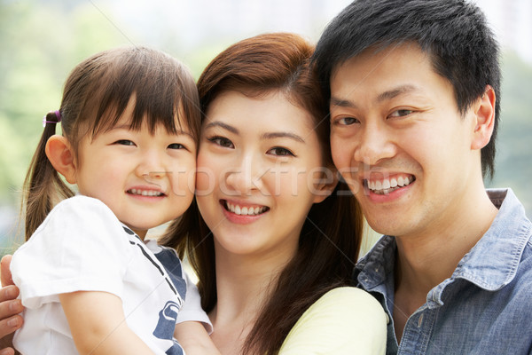 Stock foto: Porträt · chinesisch · Familie · Tochter · Park · Frau