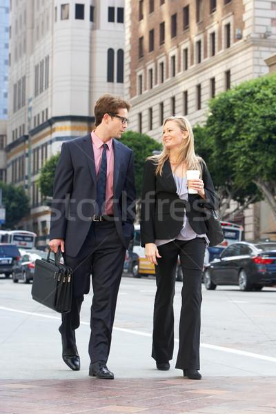 Сток-фото: бизнесмен · деловая · женщина · улице · кофе · бизнеса · служба