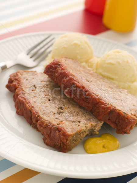 Meatloaf Baked in Tomato sauce with Mashed Potatoes and Mustard Stock photo © monkey_business