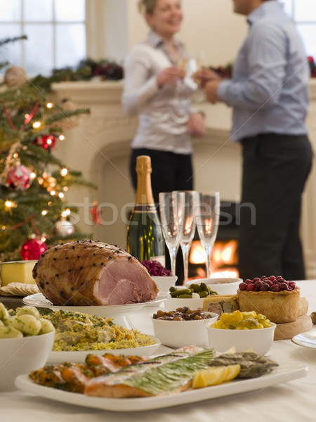 Boksen dag buffet lunch kerstboom brand Stockfoto © monkey_business