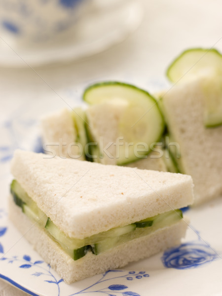 Komkommer sandwich witbrood afternoon tea voedsel koken Stockfoto © monkey_business