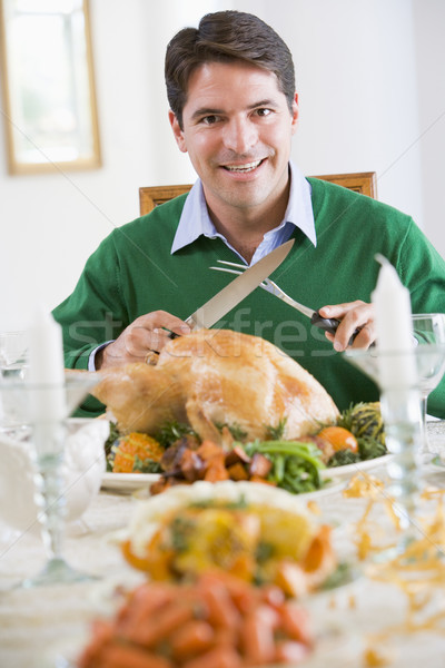 Man Preparing To Carve A Turkey Stock photo © monkey_business