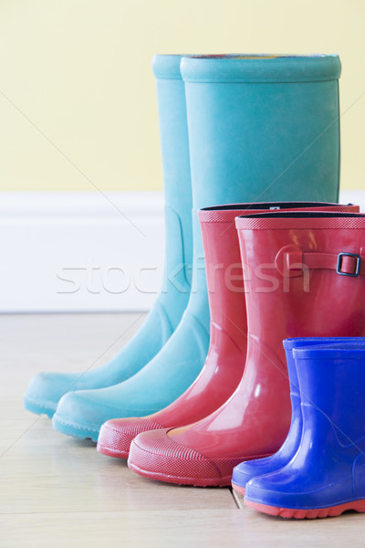 Three Pairs Of Colorful Gumboots In A  Row Stock photo © monkey_business