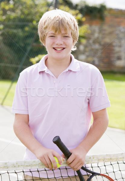 Quadra de tênis sorridente crianças esportes Foto stock © monkey_business