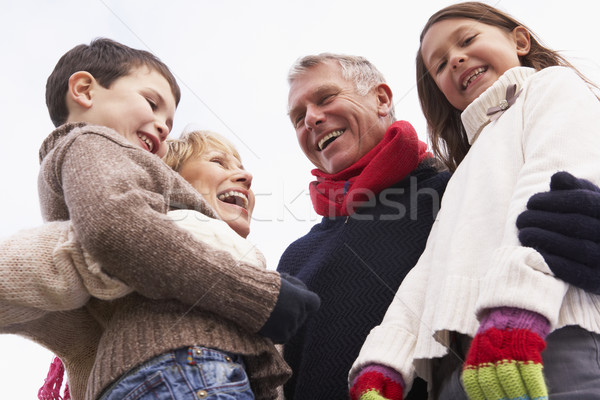 Grands-parents petits enfants hiver parc froid Photo stock © monkey_business