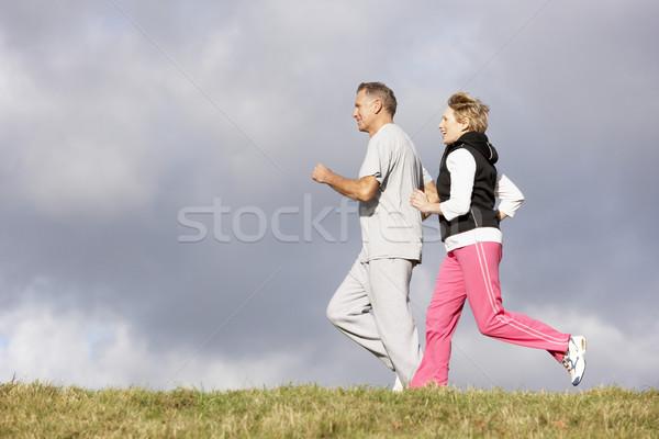 Stockfoto: Jogging · park · gelukkig · paar · glimlachend