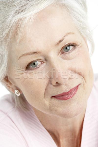 Stockfoto: Studio · portret · glimlachend · senior · vrouw · persoon