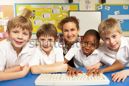 Groep primair schoolkinderen klas school kind Stockfoto © monkey_business