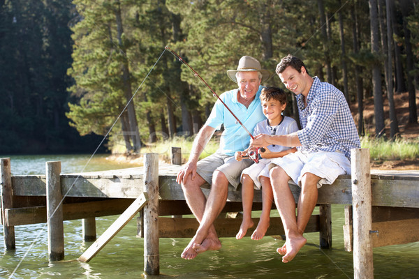 Father,son and grandson fishing together Stock photo © monkey_business