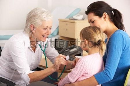 Nővér elvesz idős vérnyomás nő asztal Stock fotó © monkey_business