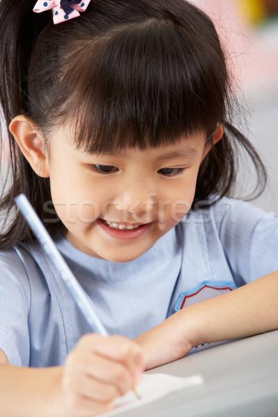 Foto stock: Feminino · estudante · trabalhando · secretária · chinês · escolas
