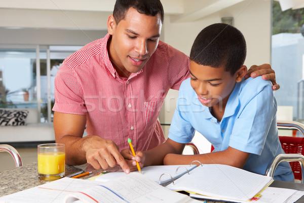 父 支援 宿題 キッチン 家族 ストックフォト © monkey_business