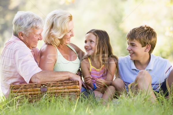 Сток-фото: дедушка · и · бабушка · пикника · внучата · женщину · семьи · ребенка