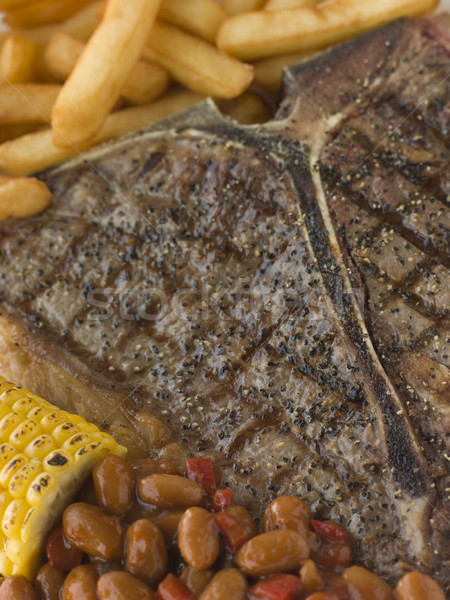 T-Bone Steak with Fries Corn and Beans Stock photo © monkey_business