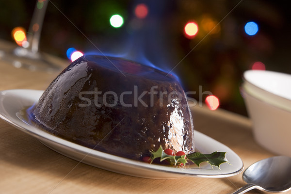 Christmas Pudding with a Brandy Flambe  Stock photo © monkey_business