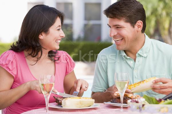Család élvezi barbeque étel bor férfi Stock fotó © monkey_business