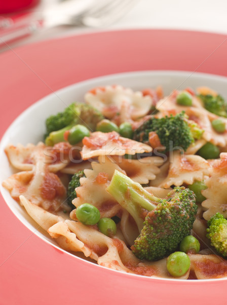 Pasta Bows with Tomato Sauce Broccoli and Peas Stock photo © monkey_business