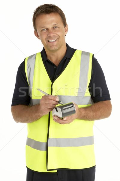 Futár ír elektronikus vágólap mosolyog doboz Stock fotó © monkey_business