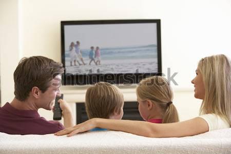 Photo stock: Trois · femmes · salon · femme · télévision