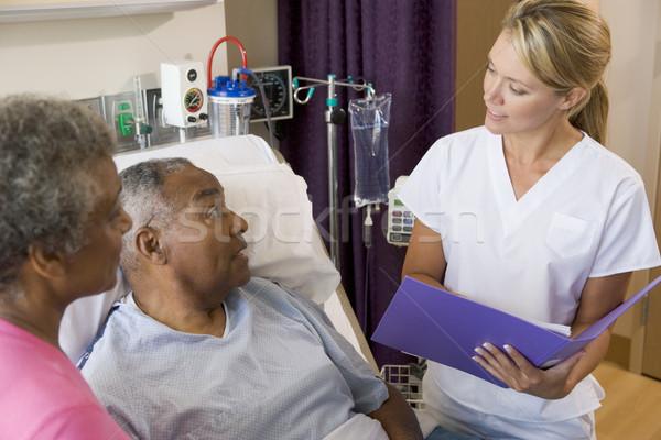 Photo stock: Médecin · parler · supérieurs · note · médicaux · couple
