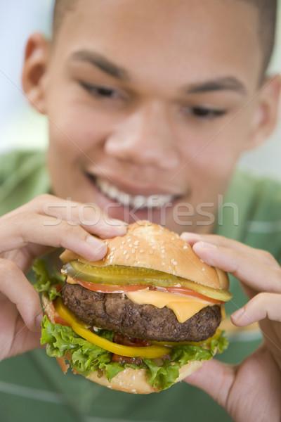 Teenage Boy Eating Burger Stock photo © monkey_business