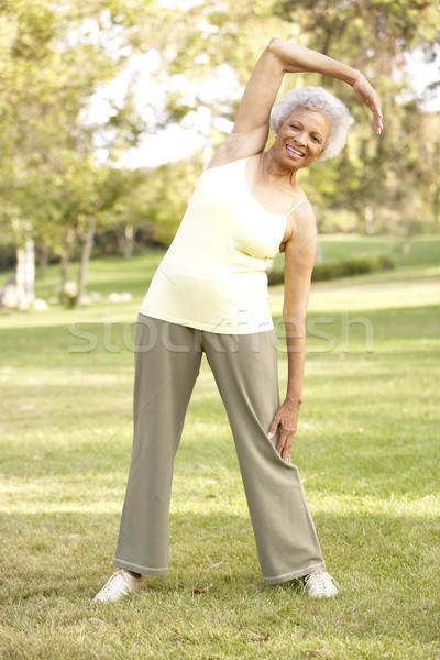 Stockfoto: Senior · vrouw · park · oefening · vrouwelijke