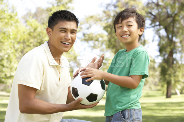 Father And Son In Park With Football Stock photo © monkey_business