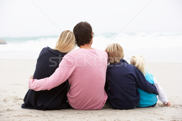 Vista posteriore giovani famiglia seduta inverno spiaggia Foto d'archivio © monkey_business