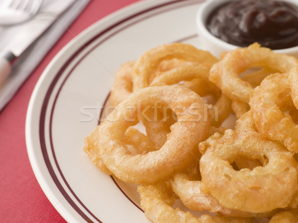 Battered Onion Rings worth Barbeque Sauce Stock photo © monkey_business