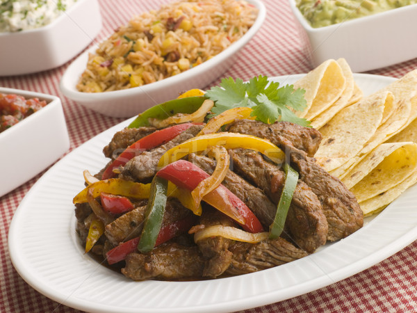 Steak Fajitas with Jambalaya Guacamole Salsa and Sour Cream Stock photo © monkey_business
