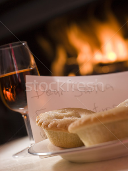 Santa Plate of Mince Pie Sherry and a Letter Stock photo © monkey_business
