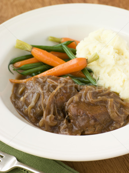 Faggots in Onion Gravy with Mashed Potato and Vegetables Stock photo © monkey_business