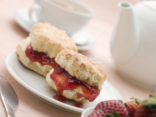 Scones Jam Clotted Cream and Strawberries with Afternoon Tea Stock photo © monkey_business
