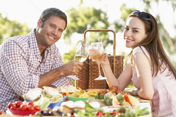 Stockfoto: Paar · eten · maaltijd · wijnglazen
