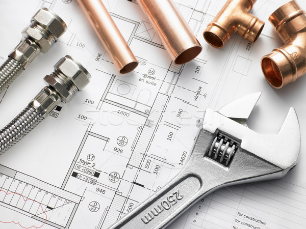 Plumbing Equipment On House Plans Stock photo © monkey_business