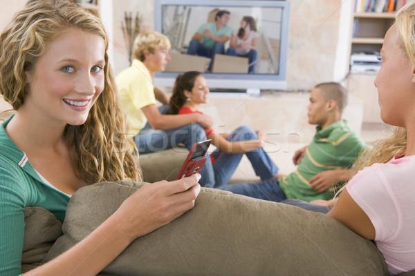 Photo stock: Adolescents · suspendu · sur · télévision · amis