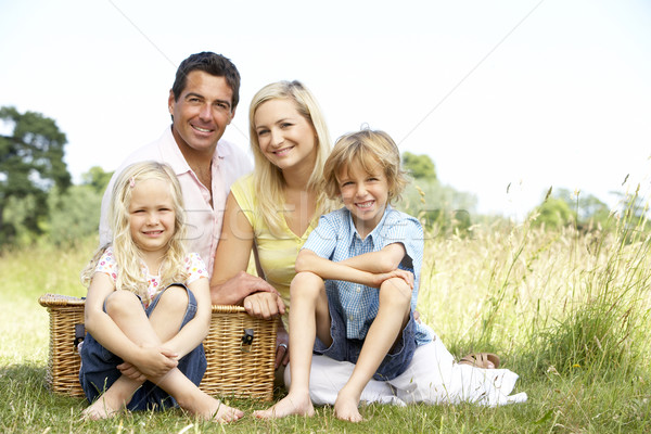 Foto stock: Família · piquenique · sorrir · homem · feliz