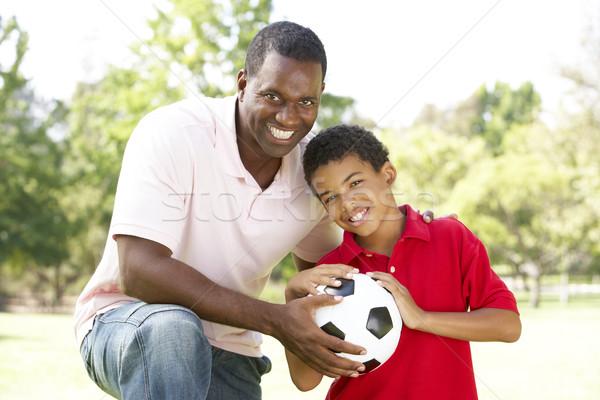 Stockfoto: Vader · zoon · park · voetbal · voetbal · gelukkig · kind
