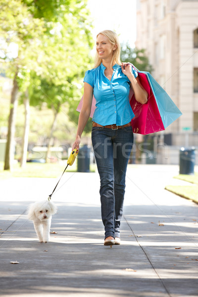 Woman on shopping trip with dog Stock photo © monkey_business