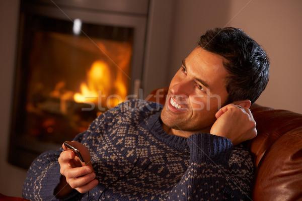 Mp3 çalar rahat yangın adam kış Stok fotoğraf © monkey_business