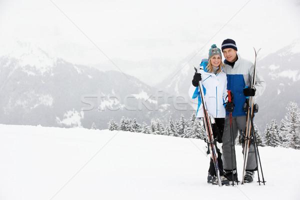 Középkorú pár sí ünnep hegyek férfi Stock fotó © monkey_business