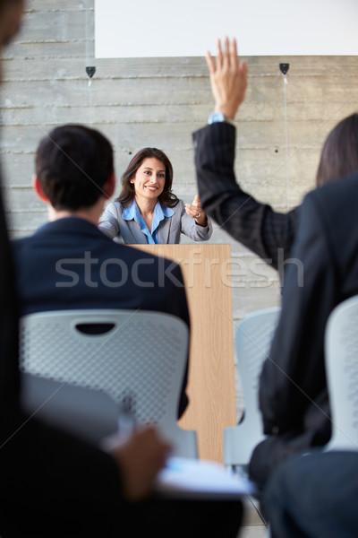 Stok fotoğraf: Işkadını · tanıtım · konferans · iş · adam · erkekler